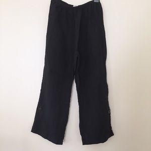 Habitat / boho black linen pants